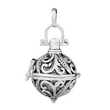 plumage Silver Pendant Locket cage for 16 18mm Ball Harmony Mexican Bola Pendant