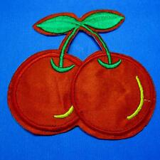 Cherry Apple Leaves Iron Sew on Embroidery Applique Patch Badge Fruit Food Biker