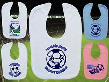 WYCOMBE WANDERERS Football Baby Bib- White/Blue/Pink- Personalised Gift-Boy/Girl