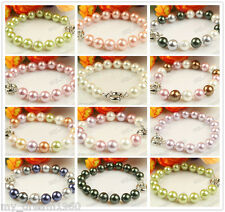 Handmade Genuine 10mm South Sea Shell pearl Bracelet 7.5'' 13 Colors Optional