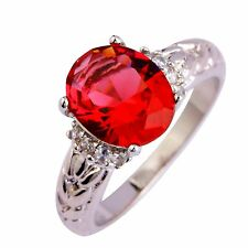 Women Ruby Spinel Gemstone Silver Jewelry Chic Ring Size 6 7 8 9 10 11 12 Gift