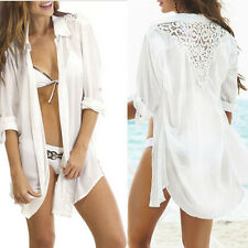 Sexy Women Sheer Lace Crochet Bikini Swimwear Cover Up Long Shirt Beach Cardigan