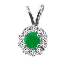 0.25 Cttw Diamond and Emerald/Ruby/Blue Sapphire Halo Pendant in 925 Silver