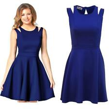 Ladies Celeb Wright Towie Inspired Shoulder Slit Flare Skater Party Dress