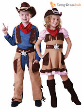 Age 3-11 Kids Cowboy Cowgirl Fancy Dress Costume Wild Western Book Week Outfit
