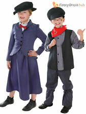 Kids Victorian Mary Nanny Chimney Sweep Fancy Dress Costume Book Week boys Girls