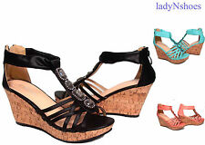 NEW Strappy T- Strap Open Toe High Heel Wedge Sandal Shoes Size 5 - 10