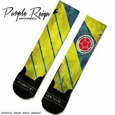 "NIKE ""COLOMBIA"" Custom Premium Socks (ALL SZ) WORLD CUP JAMES RODRIGUEZ CAFE"