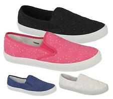 NEW LADIES WOMENS CASUAL FLAT SLIP ON GYM PUMPS PLIMSOLLS SNEAKERS SHOES