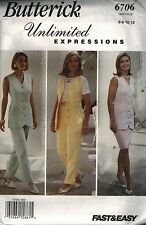 6706 UNCUT Butterick SEWING Pattern Misses Fitted Top Skirt Pants Easy OOP SEW