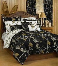REALTREE SNOW BLACK WHITE CAMO REVERSIBLE COMFORTER BEDDING SET