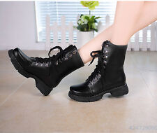Womens Fashion Skid Proof Med Heel Shoes Lace-UP Mid Calf Boots AU Size Y1114