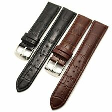 Black/Brown 18/20/22/26mm Unisex Genuine Leather Wrist Watch Band Steel Buckle