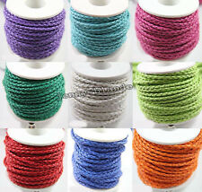 New 5/20m Leather Hand-Woven Braided Cord Thread Bracelet DIY Jewelry Making 3mm