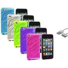TPU Zebra Rubber Skin Cover Case+Sync Cable for iPod Touch 4th Gen 4G 4