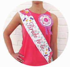 BRIDE TO BE Hen Party Sash Rosette & Guest Badges Vintage Floral Talking Tables