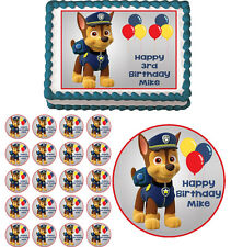 PAW PATROL CHASE Edible Cake Topper Cupcake Image Decoration
