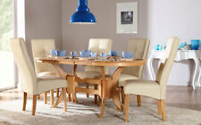 Townhouse & Logan Extending Oak Finish Dining Table and 4 6 Chairs Set (Ivory)