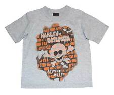 Harley-Davidson Little Boys' Tee, Short Sleeve Brick Wall Skull, Gray 0174130