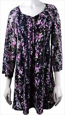 PLUS SIZE 2X FLORAL BOHO ROMANTIC LACE BABY DOLL EMPIRE WAIST LINED TOP SHIRT