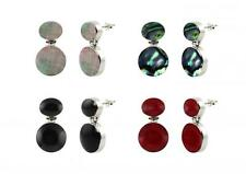 Sterling Silver 925 Round and Oval Gemstone Dangle Earrings