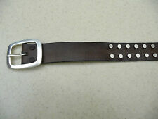 B195 Brown Genuine Leather Mens Belt with Silver Accents & Silver Buckle