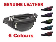 REAL LEATHER BUM WAIST BAG TRAVEL HOLIDAY MONEY BELT POUCH BLACK CHANGE BUMBAG