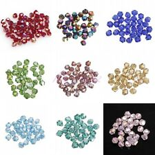 100pcs Glass Crystal 4x3mm Faceted Bicone Loose Spacer Beads AB Colors Wholesale