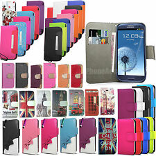 Flip Wallet Leather Case Bling Diamante Cover For Samsung Galaxy Various Phones