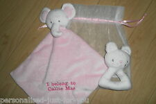 Personalised  Baby Teddy  Comfort/Comforter  blanket with rattle...Blue or Pink