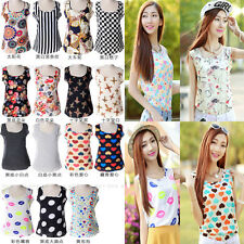 NEW Lady' s Summer Cool Chiffon Floral Vest Tops Tank Sleeveless Shirt Blouse