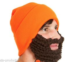 NEW FANCY DRESS ROCKJOCK BEANIE HAT WITH BEARD/BEARDED NOVELTY FUZZ FACE
