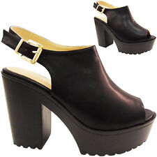 NEW WOMENS LADIES CHUNKY CLEATED HIGH BLOCK HEEL SLING BACK BUCKLE SHOES SIZE