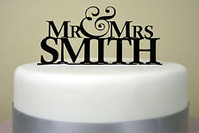 Mr & Mrs Simple Wedding Cake Topper Modern Personalised Last Name Decoration