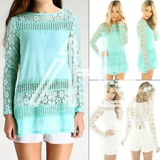 Sexy Casual Blouse New Womens Ladies Long Sleeve Floral Crochet Lace Tops Shirt