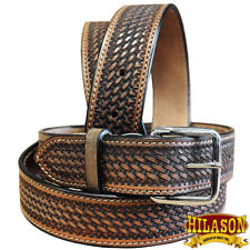HILASON HANDMADE BASKET WEAVE HEAVY DUTY WESTERN WORK LEATHER MENS BELT BROWN