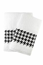Houndstooth Embroidered Bath And Hand Towel Turkish Cotton By Ebru