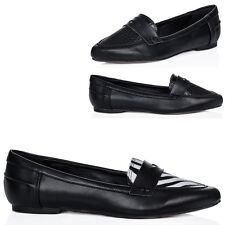 WOMENS POINTED LOAFERS CASUAL WORK OFFICE SCHOOL FLAT PUMPS SHOES SIZE 3 - 8