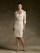 Noble Champagne Lace Wedding Mother Of The Bride Dresses Free jacket Stock Size