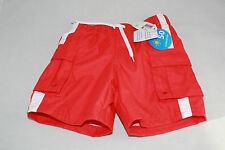 Wave Zone Boys 12mo/18mo Swim Trunks Bottoms Red NEW NWT Polyester Summer White