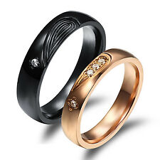 Romantic His & Her True Love Rings Titanium CZ  Wedding Promise Engagement Gifts