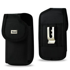 "REIKO Heavy Duty Rugged Phone Holster 2"" Belt Loop Clip Cover Canvas Case"