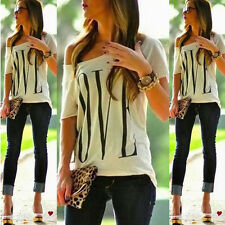 Sexy White Womens Short Sleeve Loose T Shirt Summer Casual Lover Tops Blouse