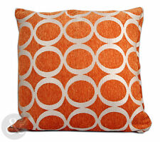Retro Modern Chenille Cushions - Orange Small and Large Scatter Cushion Covers