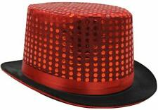RED SEQUIN TOP HAT CABARET CIRCUS RINGMASTER FANCY DRESS COSTUME ACCESSORY