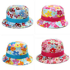 Girls Kid Baby Toddler Sun Hat Floral Flower Beach Bucket Brim Cotton Cap Bonnet