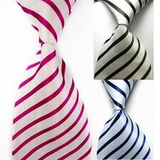 Mens Silk TIE Wedding Classic Necktie Formal Casual Party Striped Neck Ties FR