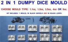 2 IN 1 DUMPY DICE MOULD FOR CARP FISHING LEADS PEAR WEIGHTS LEAD WEIGHT LOOPS