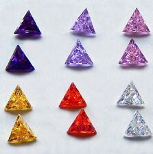 6x6 mm Triangle Cubic Zirconia  Colored Stones  ONE PAIR - assorted colors