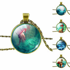 Women's Vintage Fairy Ocean Style Dome Glass Cabochon Pendant Chain Necklace